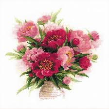 Riolis 1259 Counted Cross Stitch Kit Peonies In A Vase