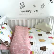 3 baby bed set cotton ab surface soft past bedding print cot sheet quilt cover pillow