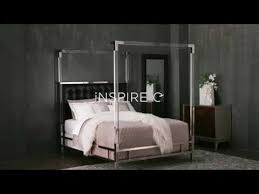Reid Acrylic and Chrome Canopy Bed with Tufted Headboard by iNSPIRE Q Bold