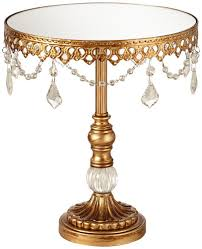 Amazon.com | Antique Gold and Crystal Mirror Top 12x10 Round Cake Stand: Cake  Stands