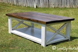 ... White Rectangle Stained Wood Rustic X Coffee Table Designs To Complete  Living Room Ideas ...