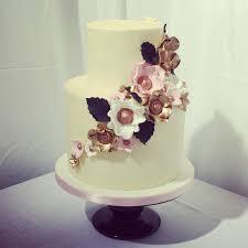 2 Tier Buttercream Cake With Metallic Flowers Wedding Cakes