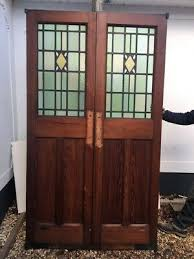 large stained glass doors double set