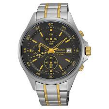 seiko watches men s ladies kinetic and solar h samuel seiko men s chronograph two colour steel bracelet watch product number 3562794