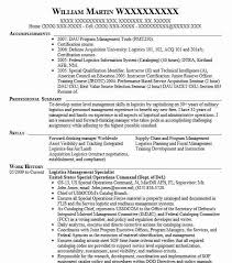 Logistics Management Resume Logistics Management Specialist Resume Sample Livecareer