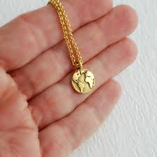 gold earth necklace globe charm