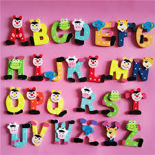 Wooden Refrigerator Magnets Korea Creative kindergarten Teaching Aids Alphabet Letters Animal Magnetic Stickers Cartoon EAUO65349