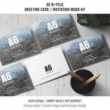 folded invitation template photoshop. Professional a6 bi fold invitation card template PSD file Free