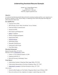 Underwriting Assistant Resume Underwriting Assistant
