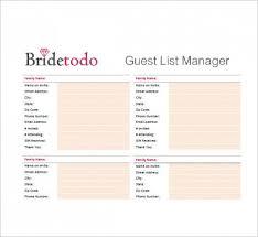 Wedding Guest List Template Excel Download Wedding Checklist Printable Guest List Wedding Design Idea