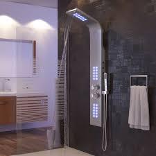 Bath Panel Lights Us 88 28 31 Off Bathroom Smart Shower Screen Stainless Steel Multi Function Led Lights Rain Shower Set Purple Light Hwc In Bath Screens From Home