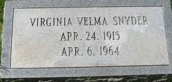 Virginia Velma Dillon Snyder (1915-1964) - Find A Grave Memorial