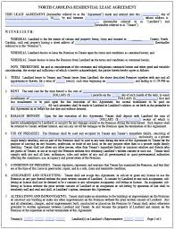 Free Residential Lease Agreement Template Nc North Carolina ...