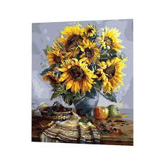 sunflower blessing diy paint by number canvas diy paint by number wall muralspug paint by number