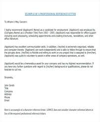 Letter Of Recommendation Character Example Recommendati Letter Of Recommendation Personal Reference Sample