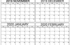 Printable November 2019 To February 2020 Calendar Free