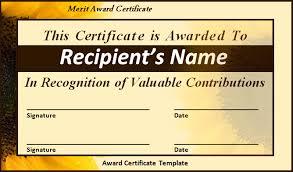 Award Certificate Template Word