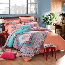 newrara 4 piece boho bed sheet set brush cotton duvet cover orange bohemian bedding queen king size classic king not include comforter