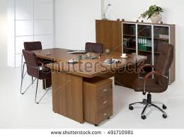 studio office furniture. Suite Of Office Furniture On Isolated Studio Background