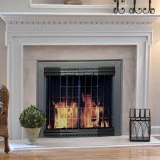pleasant hearth arrington fireplace screen and bi fold track free glass doors black and gold hayneedle