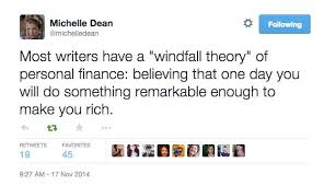 "the windfall theory of personal finance the billfold the response from the twitterati made it clear that she had struck a chord her audience ""shh don t say it out loud "" said one"