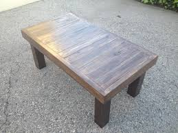 tasteful mahogany dark polished reclaimed wood coffee table with espresso base legs for patio furniture decors