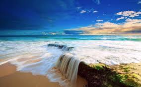 beautiful waterfall beaches wallpaper