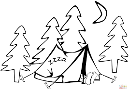 Small Picture Sleeping in a Tent coloring page Free Printable Coloring Pages