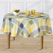 harmony plaid flannel backed indoor outdoor vinyl table linens 70 inch round blue b0741dxlgc