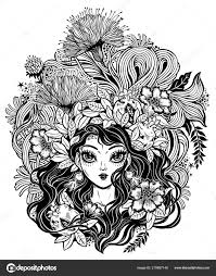 Girl With Flowers Leaves And Pomegranate Hair Stock Vector