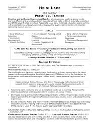 Preschool Teacher Example Nursery Resume Templates Sample Monster