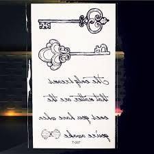 прекрасные черные кавычки ключ дети временные наклейки татуировки детские