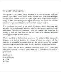 Sample Letter Of Recommendation For High School Student From Teacher Letter Of Recommendation For Student Template Teacher