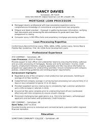 Mortgage Loan Officer Resume Good Mortgage Loan Processor Resume