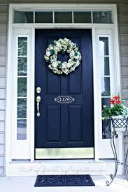 Navy front door color and address on door