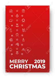 Typography Design Layout Merry Christmas Card Design Layout With Decoration Of Xmas Icons
