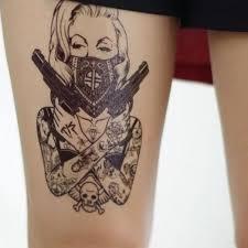 водонепроницаемая девушка с оружием временная татуировка большая рука боди арт