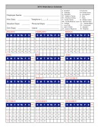 Printable Attendance Calendar 2016 Employee Attendance