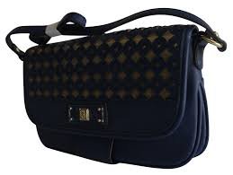 Anne Klein Designer Bags Anne Klein Classic Perfection Navy Blue And Gold Shoulder