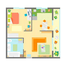 Apartment Floor Plan With Furniture Top View Family Residence Enchanting Apartments Floor Plans Design Style