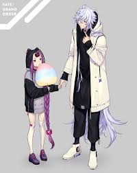 Perhaps the only blue haired anime boy that represents peace and tranquility. Wallpaper Fate Series Fate Grand Order Anime Girls Anime Boys Fan Art 2d Digital Art Simple Background Anime Girls Eating Long Hair Loli White Stockings Violet Hair Grey Hair Violet Eyes