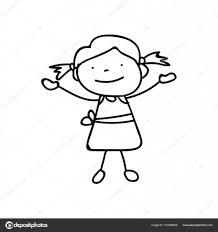 ライン アートの描画抽象幸せなかわいい女の子を手します ストック