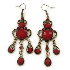 victorian style dark red burdy acrylic bead chandelier earrings in antique gold tone 80mm