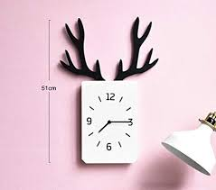 Guazhbiao Antler Clock Silent Wall Clock Wall Wooden