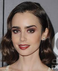lancôme ambador lily collins 27 opted for a black cherry lip