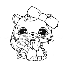 Small Picture Littlest Pet Shop Cute Cat coloring page for kids animal coloring