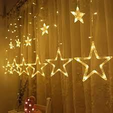 HOT) Đèn LED Thả Mành Trang Trí Hình Ngôi Sao - Đèn Thả Mành 5M Hình Sao  Lớn 12 Bóng LED