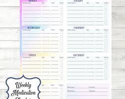 Weekly Medication Tracker Medication Planner Insert