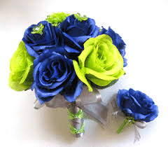 Small Picture SEATTLE SEAHAWKS NFL 2pc Navy Blue Green Bouquet Wedding Silk