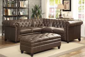 leather nailheads sectional w o ottoman to enlarge